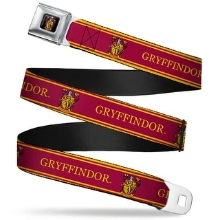 Gryffindor Crest Full Color Gryffindor Crest Stripe Gold Red Webbing Seatbelt Belt