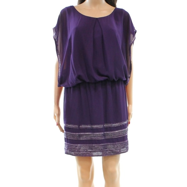 4b68859103f Shop SLNY NEW Eggplant Purple Silver Womens Size 14 Chiffon Blouson Dress -  Free Shipping On Orders Over  45 - Overstock - 18288985