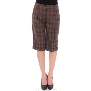 Dolce & Gabbana Brown checkered wool shorts pants - it40-s