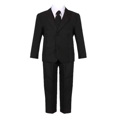 Rain Kids Little Boys Black Straight Jacket 5 pc Special Occasion Suit Set