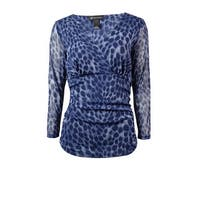 INC International Concepts Women's Ruched Surplice Mesh Top - ombre cheetah - ps