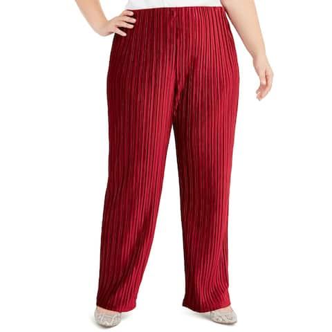 Alfani Women's Plus Size Pull-On Velvet Wide-Leg Pants Red Size Extra Large