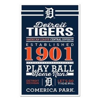 Detroit Tigers Sign 11x17 Wood Established Design