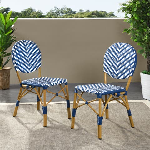 """Picardy Outdoor Aluminum French Bistro Chairs (Set of 2) by Christopher Knight Home - 17.75"""" L x 23.25"""" W x 35.00"""" H"""