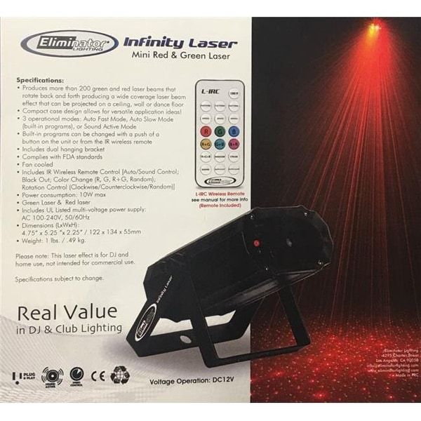 Eliminator Lighting Red & Green Laser Effect with Multiple Sky Beams