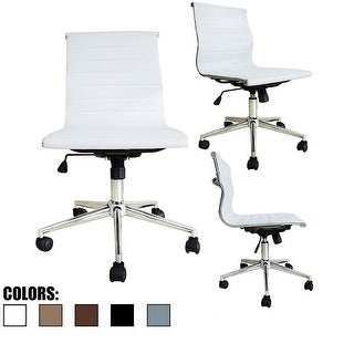 2xhome Modern Mid Back Leather Office Chair White Armless With Wheels Conference Room Tilt Guest Work Task Executive Swivel