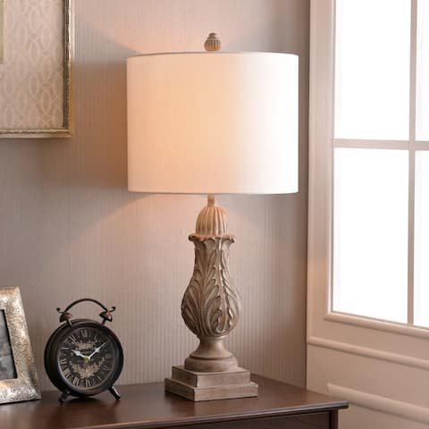 """Frances 29"""" Weathered Wood Table Lamp - 14"""" Dia. x 29"""" H"""