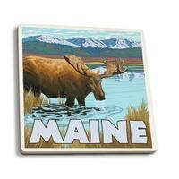 ME - Moose Drinking in Lake - LP Artwork (Set of 4 Ceramic Coasters)