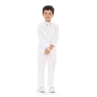 Angels Garment Little Boys White Jacket Pants Vest Tie Shirt Handsome Suit