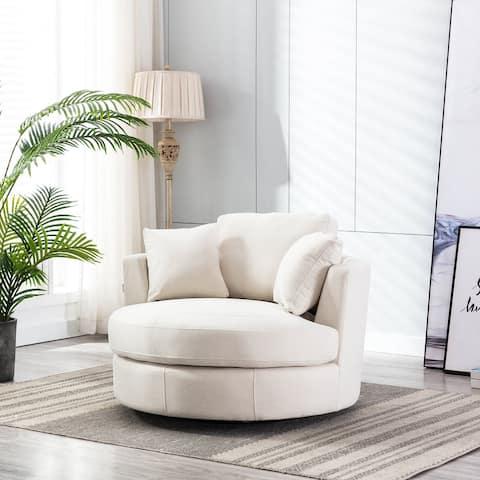 """42.52"""" W Linen Swivel Barrel Chair"""