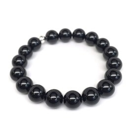 Black Onyx 'Eternal' stretch bracelet Sterling Silver