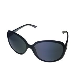 Ellen Tracy Womens Sunglass 549 3 Black Round Plastic, Smoke Gradient Lens - Medium