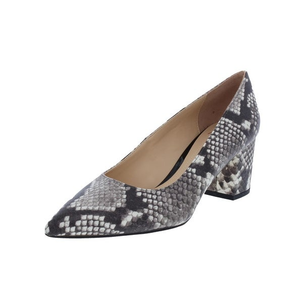Brian Atwood Womens Kacie Block Heels Snake Print Ivory 7.5 Medium (B,M) - 7.5 medium (b,m)