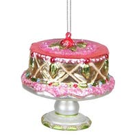 "3"" Dessert Delight Glass Cake On Serving Plate Christmas Ornament"