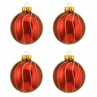 Shiny Red with Gold Striped Design Glass Ball Christmas Ornaments