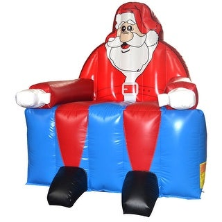 Costway Inflatable Santa Claus Bounce House Castle Jumper Christmas Bouncer Without Blower - Blue