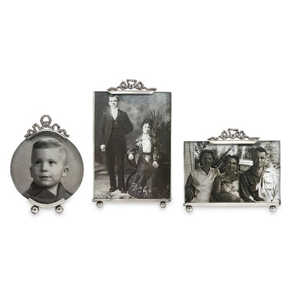 Set of 3 Vintage Inspired Silver Toned Brass Photo Picture Frames