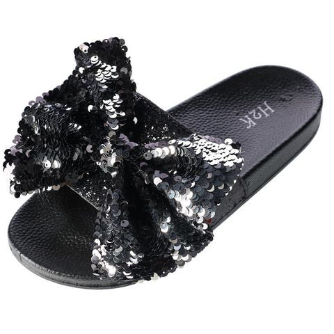 H2K Women's Slide Slipper with Sequin Bow
