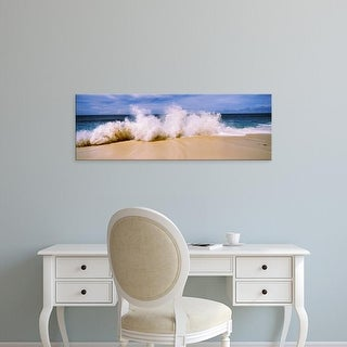 Easy Art Prints Panoramic Images's 'Breaking waves on the beach, Oahu, Hawaii, USA' Premium Canvas Art