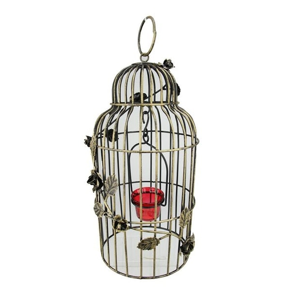 "15"" Decorative Antique Gold Finish Birdcage Tea Light Candle Holder Lantern with Rose Flowers"