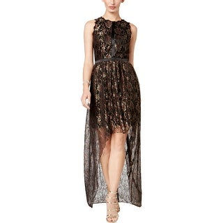 Adrianna Papell Womens Petites Party Dress Metallic Lace