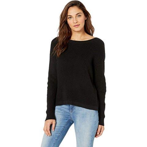 1.STATE Waffle Stitch V-Back Lace-Up Sweater, Rich Black, Medium