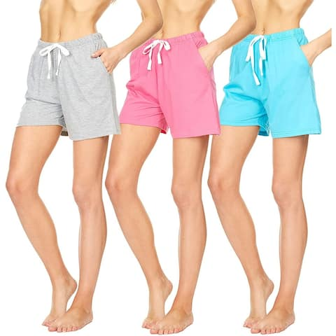 Essential Elements 3 Pack: Women's 100% Cotton Casual Active Gym Lounge Sleep Pajama Shorts