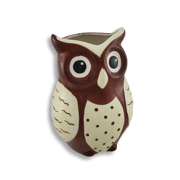 Brown And White Ceramic Owl Vase Free Shipping On Orders Over 45