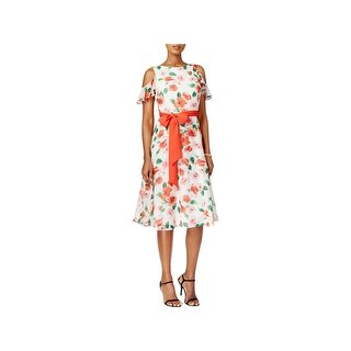 Jessica Howard Womens Petites Party Dress Cold Shoulder Daytime