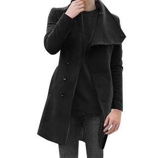 Mens Stylish Convertible Collar Long Sleeve Single Breasted Slant Pockets Trench Coat