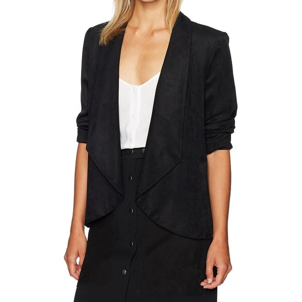 Nine West Deep Black Womens Size 14 Faux-Suede Flyaway Jacket