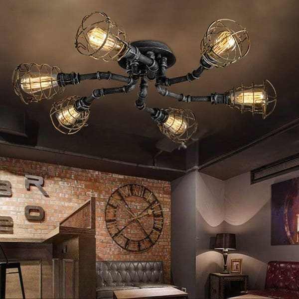 6 Light Industrial Pipe Ceiling Light With Black Finish Overstock 24307427
