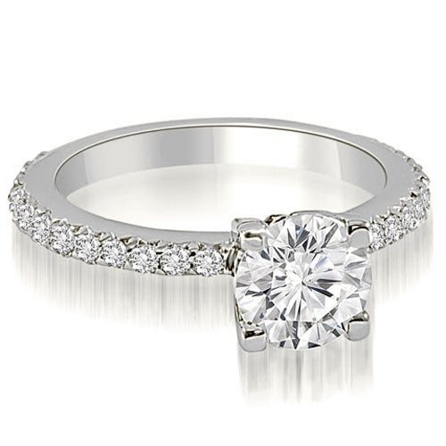 0.86 cttw. 14K White Gold Round Cut Diamond Engagement Ring