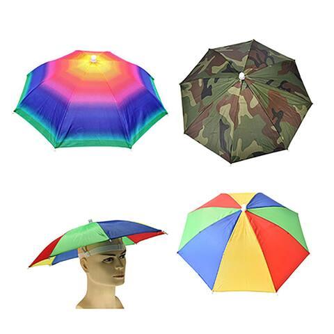 Adjustable Headband Sun Rain Outdoor Sport Foldable Fishing Umbrella Hat Cap