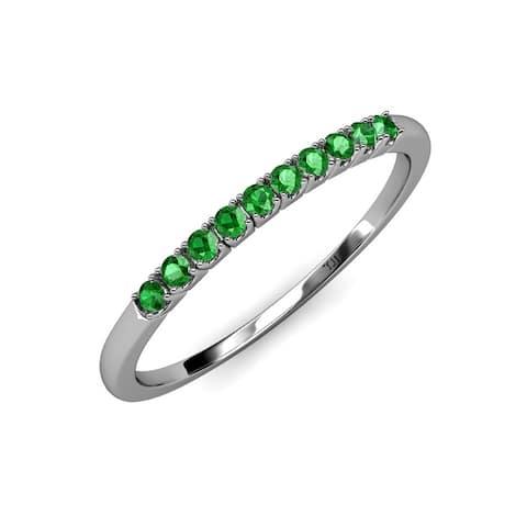 TriJewels French Set Green Garnet 3/8 ctw 10 Stone Wedding Band 14K Gold