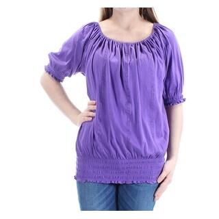 RALPH LAUREN Womens Purple Ruched 3/4 Sleeve Jewel Neck Top Size: S