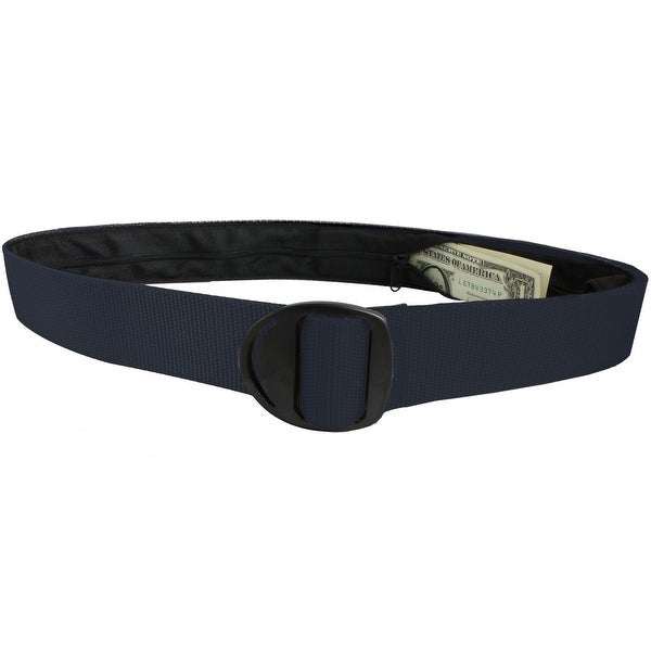 Bison Designs Crescent Black Buckle Money Belt - Navy