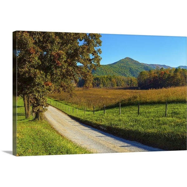 """""""Dirt road passing through a field, Great Smoky Mountains National Park"""" Canvas Wall Art"""