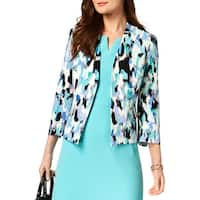 Kasper Womens Crop Blazer Printed 3/4 Sleeve