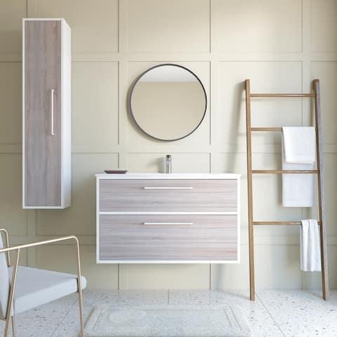 "Chelsea 40"" Modern Bathroom Vanity Weathered Oak Wood 40 X 24 X 18 In Cabinet + Sink - Weathered Oak"