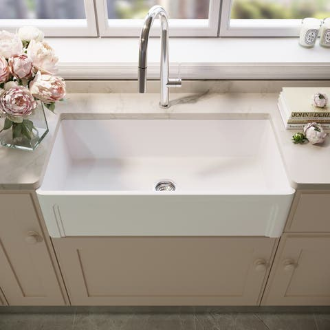 VIGO White Casement Front Matte Stone Farmhouse Kitchen Sink