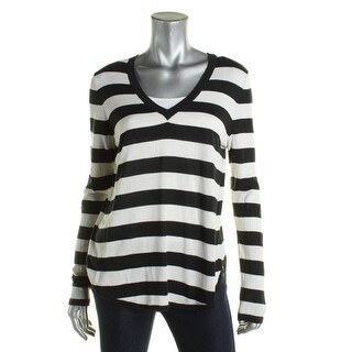 Ralph Lauren Womens Haivyn V-Neck Sweater Knit Striped