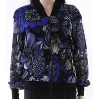 Fuzzi Blue Black Womens Size Medium M Floral Print Bomber Jacket