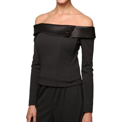 Alex Evenings Black Women Large L Off-Shoulder Satin-Trim Blouse