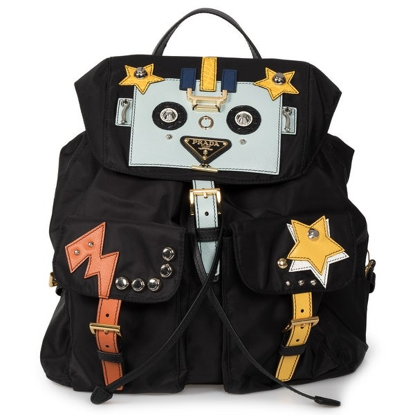2d8a85df4ed9db Shop Prada Black Fabric Backpack With Robot Motif - Free Shipping ...