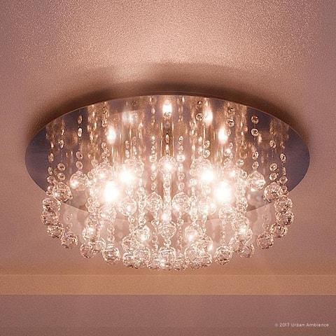 "Luxury Crystal Flush Mount Ceiling Light, 9""H x 19.75""W, with Modern Style, Polished Chrome Finish"