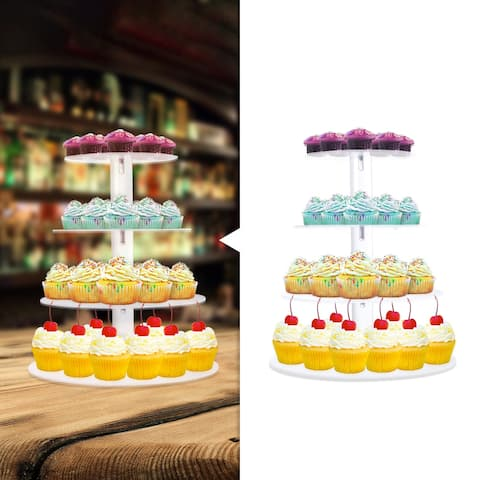 3/4/5/6/7 Tier Round Clear Acrylic Cupcake Stand Tower for Birthday Wedding Party Display Dessert Stand - Transparent