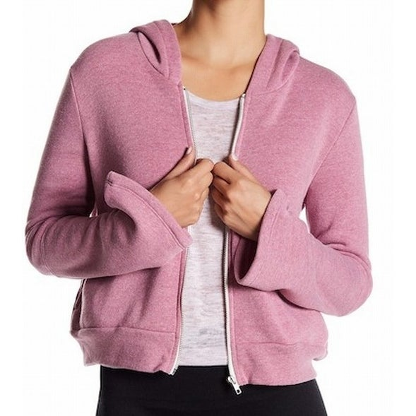 ab47f1e12a3 Shop Alternative NEW Pink Womens Size Large L Full Zip Crop Hooded Sweater  - Free Shipping On Orders Over  45 - Overstock - 20871649