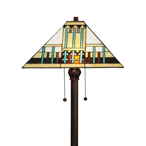 """Meyda Tiffany 138129 Zaragoza Mission 2 Light 62"""" Tall Hand-Crafted Floor Lamp with Stained Glass"""