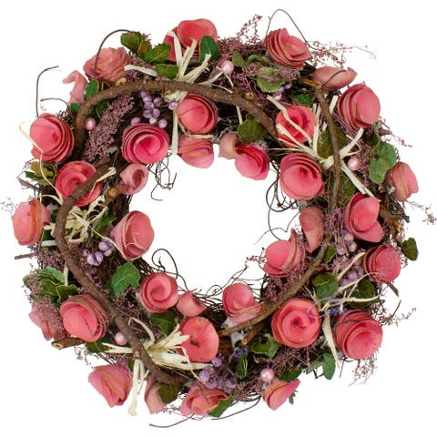 Pink Floral, Berry and Twig Artificial Spring Wreath, 12-Inch
